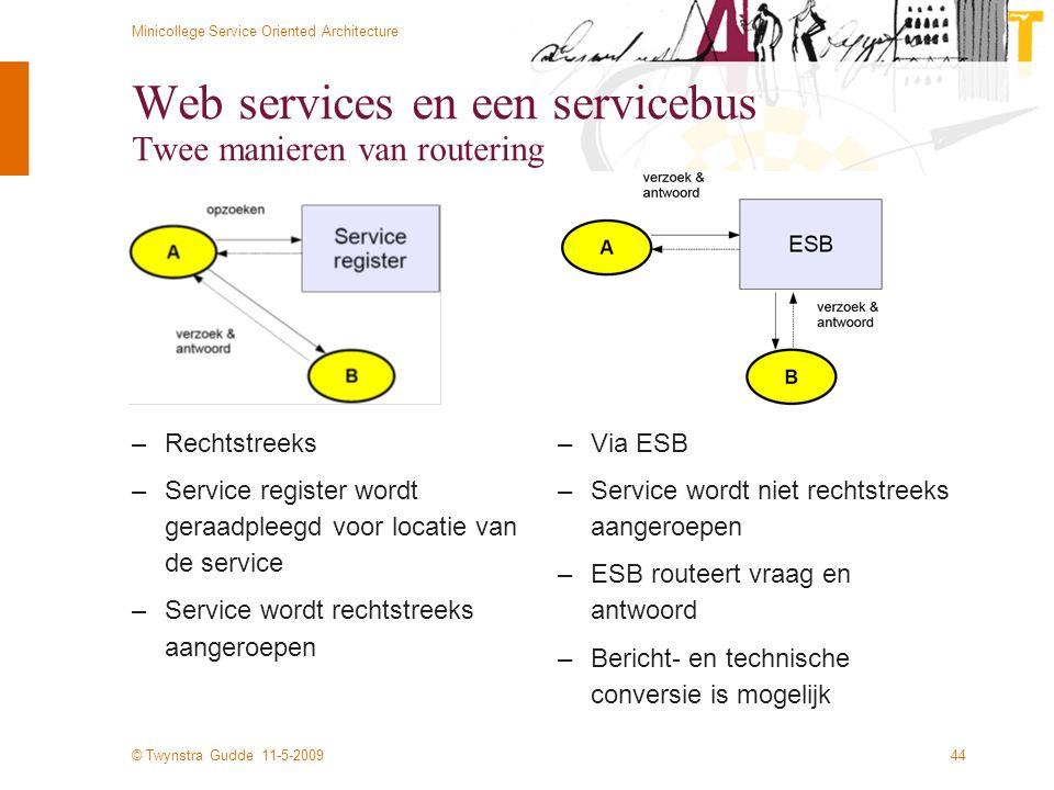 © Twynstra Gudde 11-5-2009 Minicollege Service Oriented Architecture 44 Web services en een servicebus Twee manieren van routering –Rechtstreeks –Serv