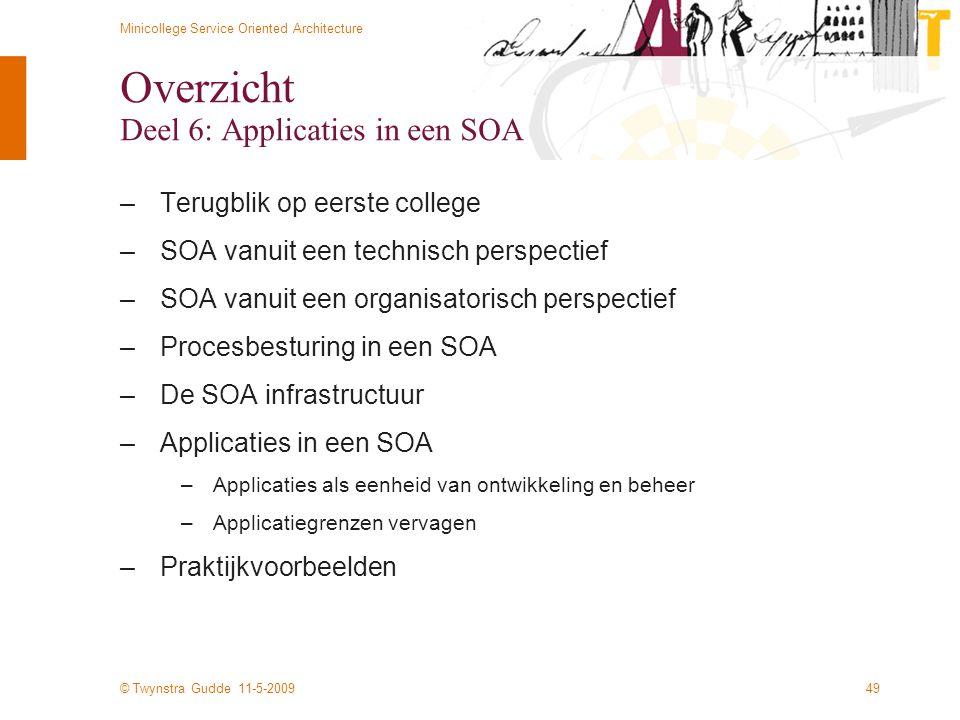 © Twynstra Gudde 11-5-2009 Minicollege Service Oriented Architecture 49 Overzicht Deel 6: Applicaties in een SOA –Terugblik op eerste college –SOA van