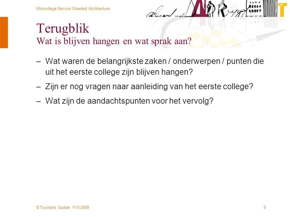 © Twynstra Gudde 11-5-2009 Minicollege Service Oriented Architecture 20 Voorbeeld SuwiNet Inkijk – Vraag POST /UwvInkijk/execute.ASP HTTP/1.1 Content-Type: text/xml Host: www.suwi.nl Content-Length: 352 SOAPAction: http://www.suwi.nl/action/StamgegevensUwv-v0230 <SOAP-ENV:Envelope xmlns:SOAP-ENV= http://schemas.xmlsoap.org/soap/envelope/ xmlns:xsi= http://www.w3.org/2001/XMLSchema-instance xsi:schemaLocation= http://schemas.xmlsoap.org/soap/envelope/ StamgegevensUwv-v0230-Envelope.xsd > 123456789