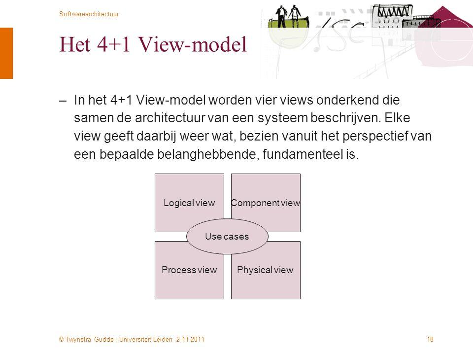 © Twynstra Gudde | Universiteit Leiden 2-11-2011 Softwarearchitectuur 18 Het 4+1 View-model –In het 4+1 View-model worden vier views onderkend die sam