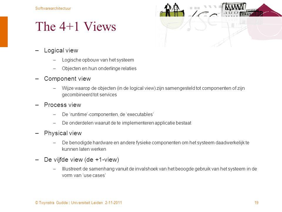 © Twynstra Gudde | Universiteit Leiden 2-11-2011 Softwarearchitectuur 19 The 4+1 Views –Logical view –Logische opbouw van het systeem –Objecten en hun