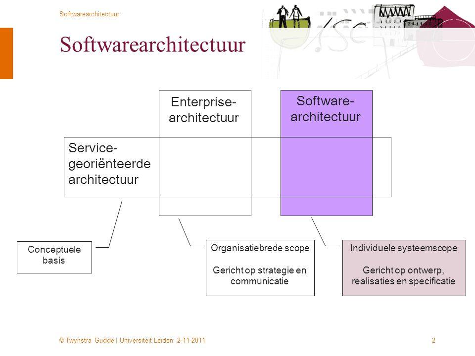 © Twynstra Gudde | Universiteit Leiden 2-11-2011 Softwarearchitectuur 2 Enterprise- architectuur Software- architectuur Service- georiënteerde archite