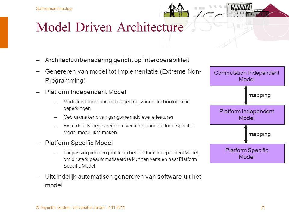 © Twynstra Gudde | Universiteit Leiden 2-11-2011 Softwarearchitectuur 21 Model Driven Architecture –Architectuurbenadering gericht op interoperabilite