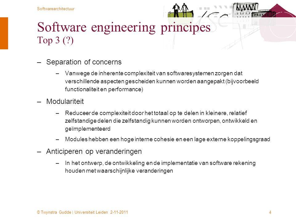© Twynstra Gudde | Universiteit Leiden 2-11-2011 Softwarearchitectuur 4 Software engineering principes Top 3 (?) –Separation of concerns –Vanwege de i