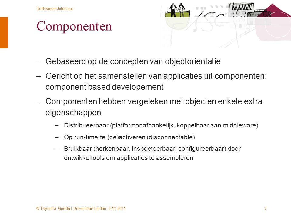 © Twynstra Gudde | Universiteit Leiden 2-11-2011 Softwarearchitectuur 7 Componenten –Gebaseerd op de concepten van objectoriëntatie –Gericht op het sa