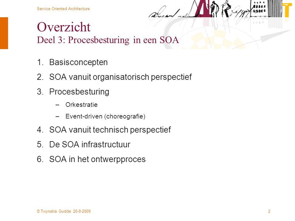 © Twynstra Gudde 20-9-2009 Service Oriented Architecture 2 Overzicht Deel 3: Procesbesturing in een SOA 1.Basisconcepten 2.SOA vanuit organisatorisch perspectief 3.Procesbesturing –Orkestratie –Event-driven (choreografie) 4.SOA vanuit technisch perspectief 5.De SOA infrastructuur 6.SOA in het ontwerpproces