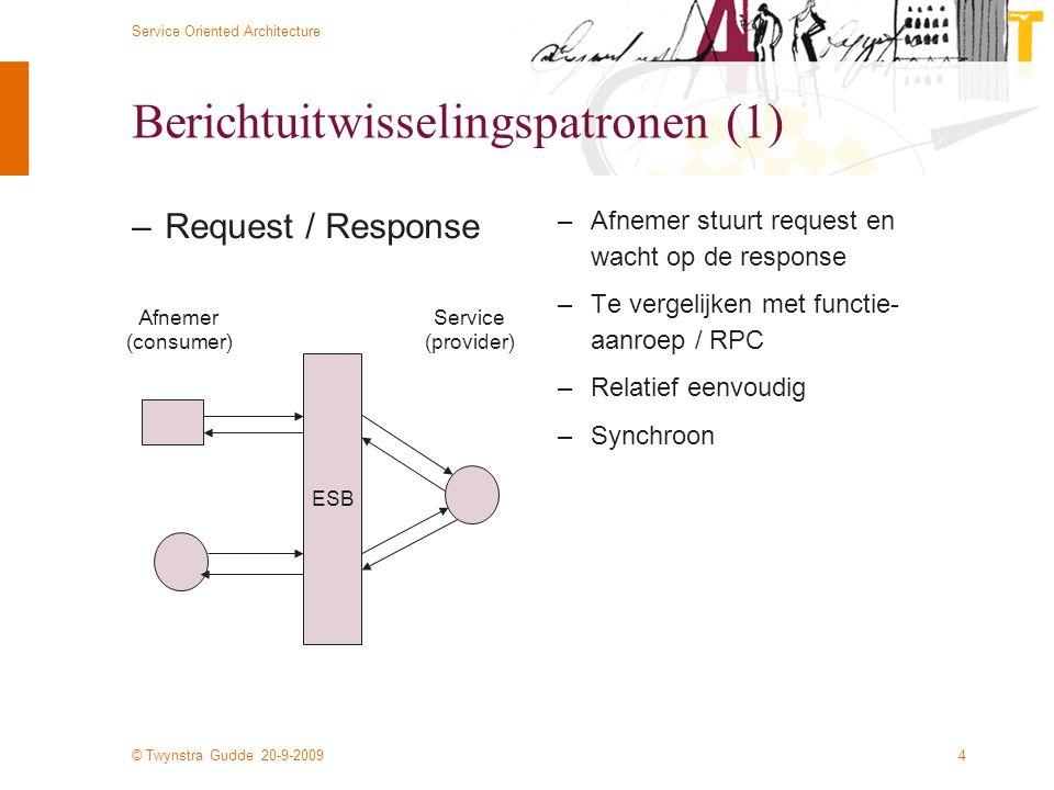 © Twynstra Gudde 20-9-2009 Service Oriented Architecture 4 Berichtuitwisselingspatronen (1) –Request / Response –Afnemer stuurt request en wacht op de response –Te vergelijken met functie- aanroep / RPC –Relatief eenvoudig –Synchroon Afnemer (consumer) Service (provider) ESB