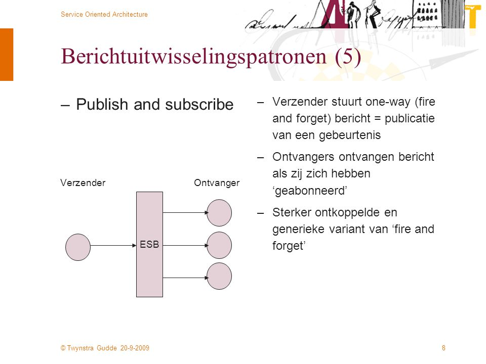 © Twynstra Gudde 20-9-2009 Service Oriented Architecture 8 Berichtuitwisselingspatronen (5) –Publish and subscribe –Verzender stuurt one-way (fire and