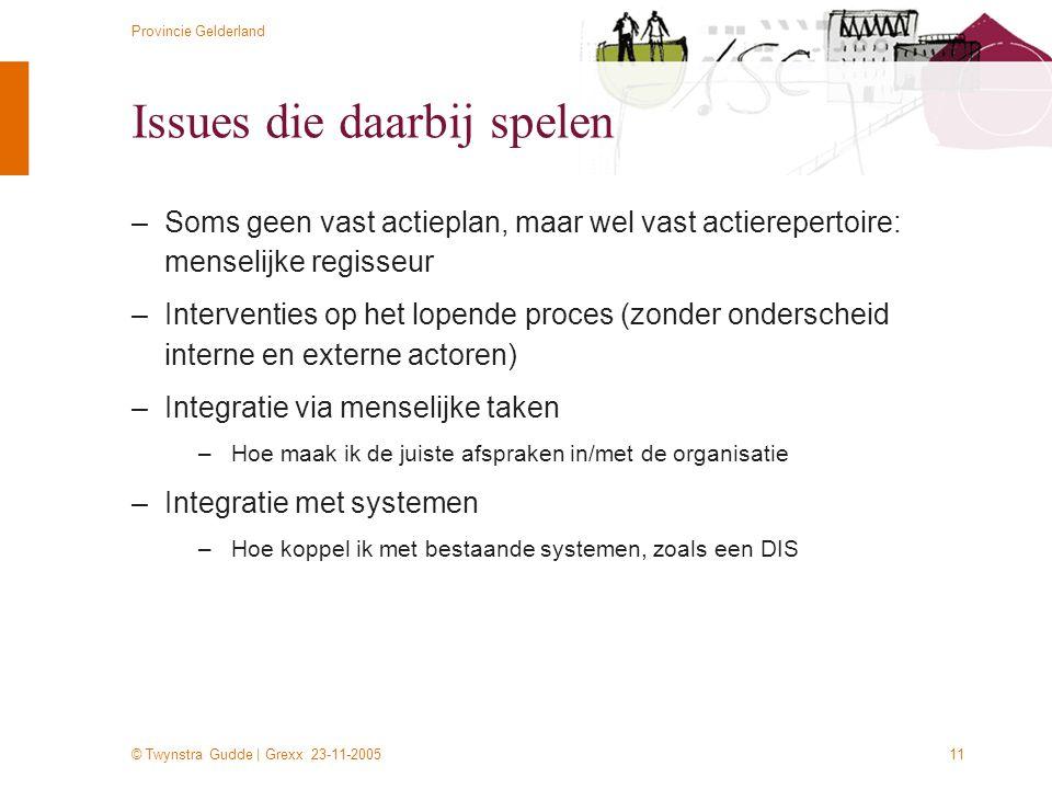 © Twynstra Gudde | Grexx 23-11-2005 Provincie Gelderland 11 Issues die daarbij spelen –Soms geen vast actieplan, maar wel vast actierepertoire: mensel
