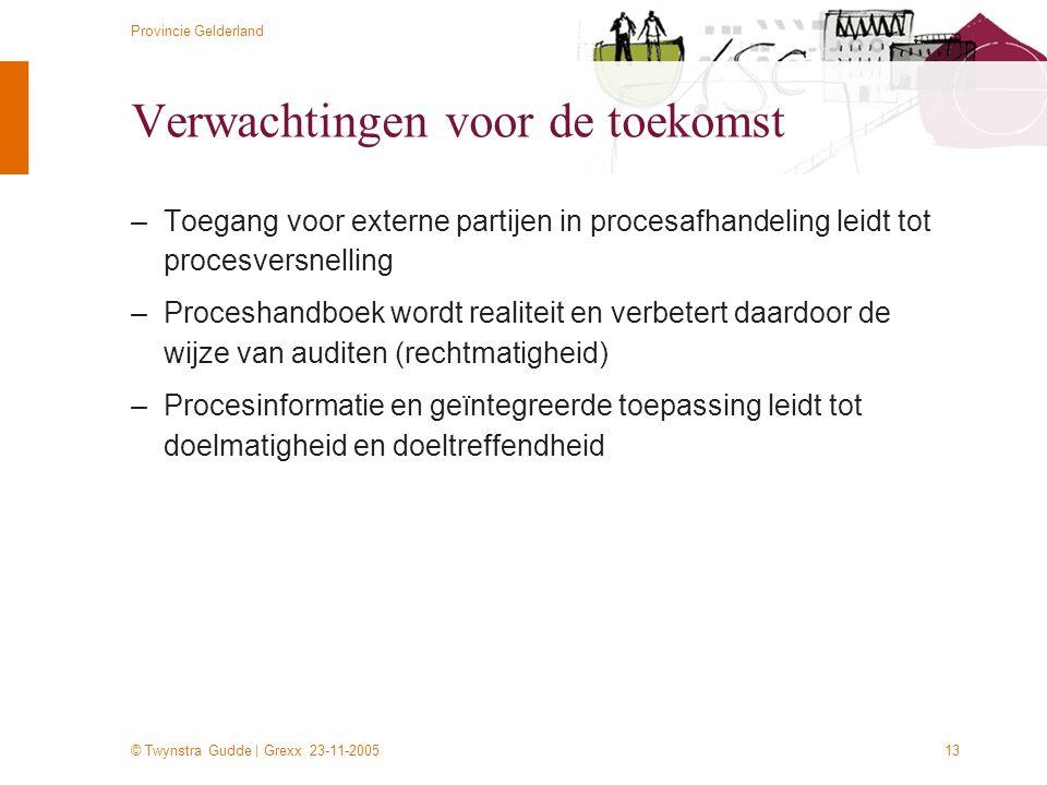 © Twynstra Gudde | Grexx 23-11-2005 Provincie Gelderland 13 Verwachtingen voor de toekomst –Toegang voor externe partijen in procesafhandeling leidt t