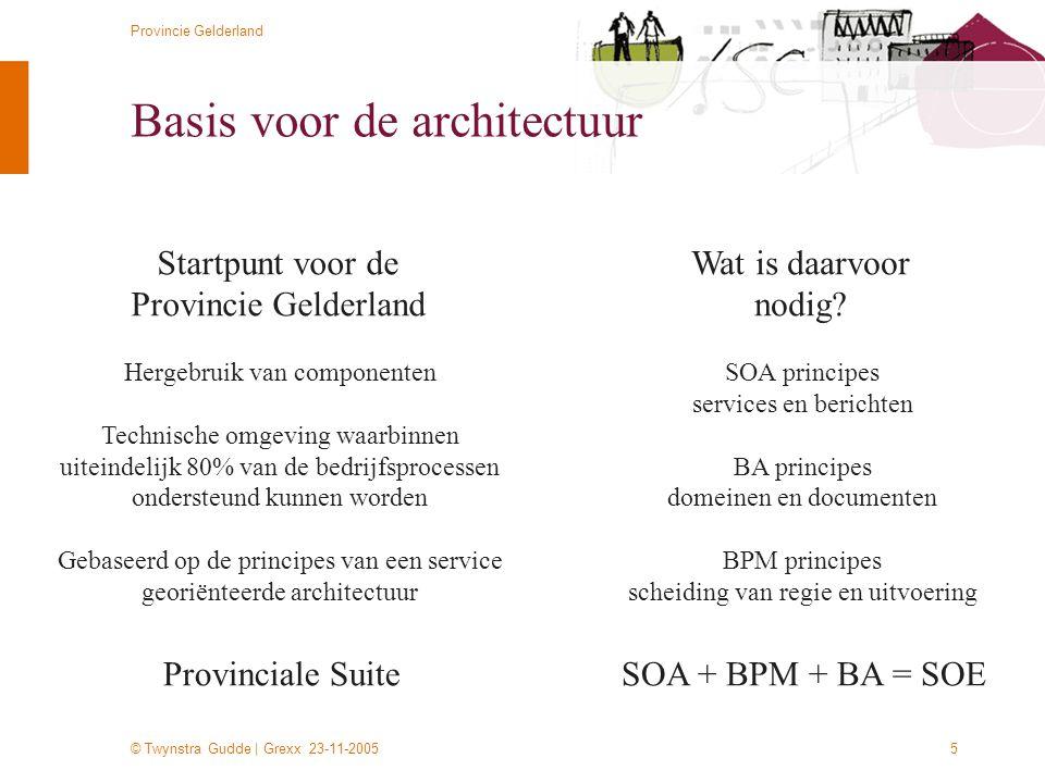 © Twynstra Gudde | Grexx 23-11-2005 Provincie Gelderland 5 Basis voor de architectuur Startpunt voor de Provincie Gelderland Hergebruik van componente