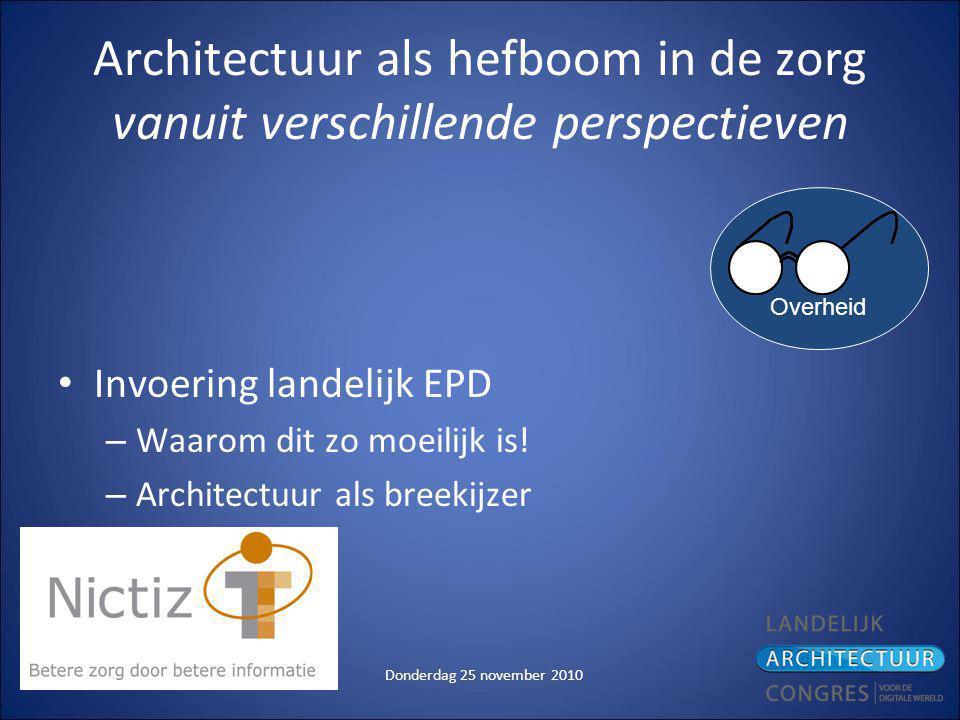 Donderdag 25 november 2010 Architectuur als hefboom in de zorg vanuit verschillende perspectieven Invoering landelijk EPD – Waarom dit zo moeilijk is.