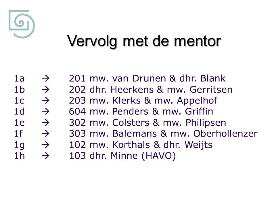 Vervolg met de mentor 1a  201 mw. van Drunen & dhr. Blank 1b  202 dhr. Heerkens & mw. Gerritsen 1c  203 mw. Klerks & mw. Appelhof 1d  604 mw. Pend