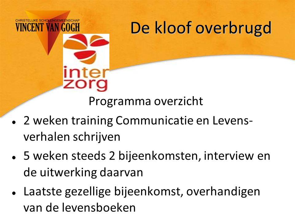 De kloof overbrugd Programma overzicht 2 weken training Communicatie en Levens- verhalen schrijven 5 weken steeds 2 bijeenkomsten, interview en de uit