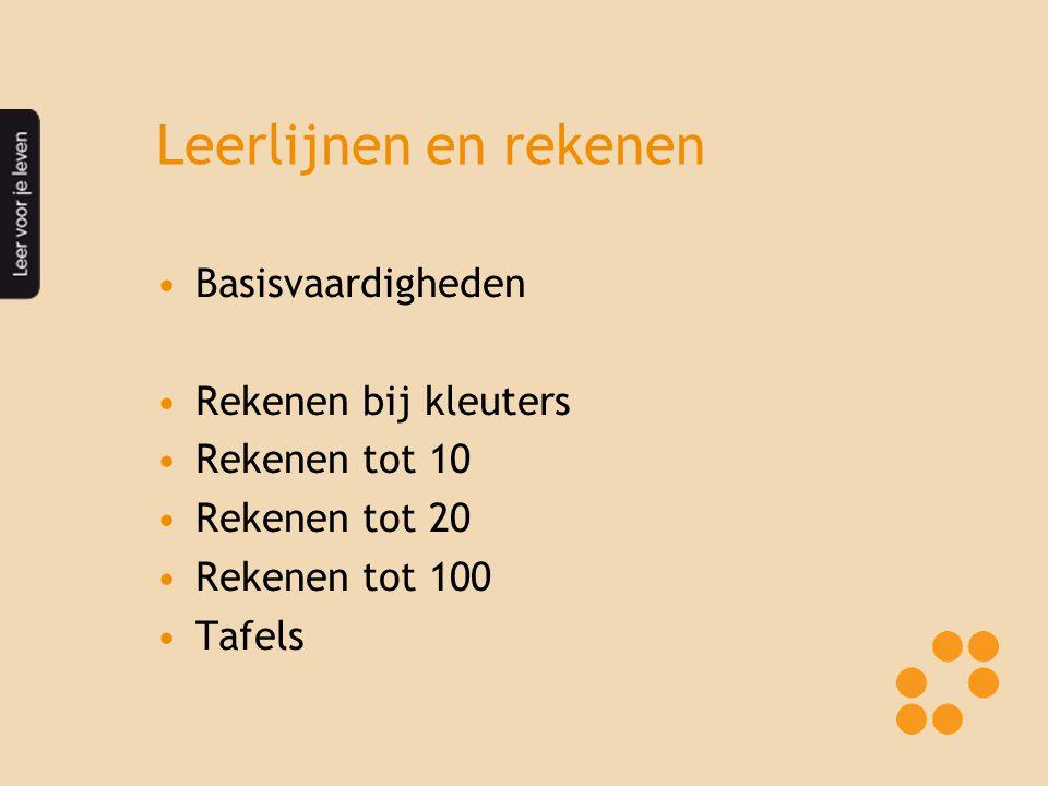 Leerlijnen en rekenen Basisvaardigheden Rekenen bij kleuters Rekenen tot 10 Rekenen tot 20 Rekenen tot 100 Tafels