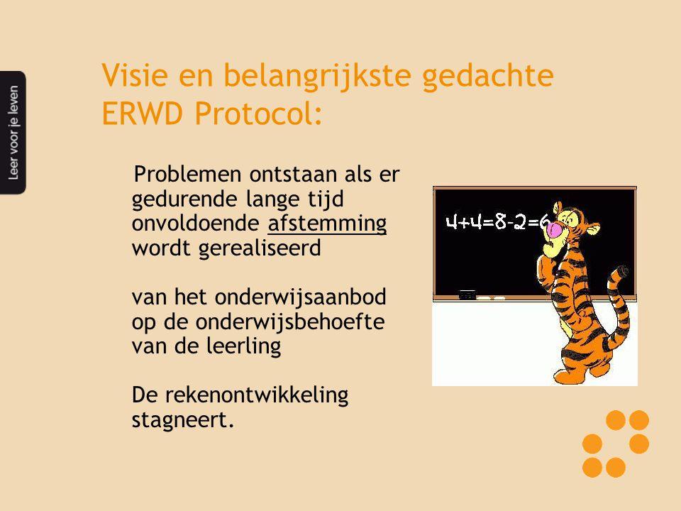 Visie en belangrijkste gedachte ERWD Protocol: Problemen ontstaan als er gedurende lange tijd onvoldoende afstemming wordt gerealiseerd van het onderwijsaanbod op de onderwijsbehoefte van de leerling De rekenontwikkeling stagneert.