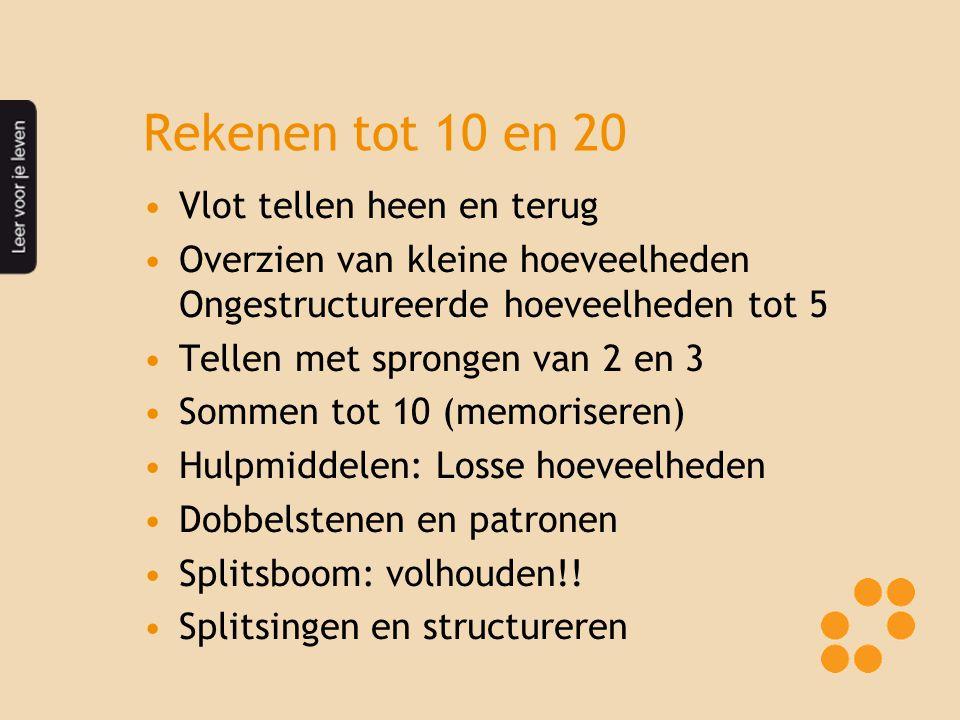 Rekenen tot 10 en 20 Vlot tellen heen en terug Overzien van kleine hoeveelheden Ongestructureerde hoeveelheden tot 5 Tellen met sprongen van 2 en 3 Sommen tot 10 (memoriseren) Hulpmiddelen: Losse hoeveelheden Dobbelstenen en patronen Splitsboom: volhouden!.