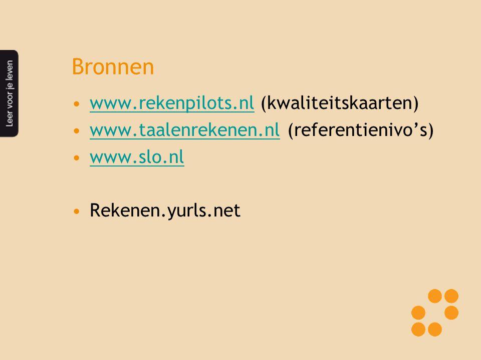 Bronnen www.rekenpilots.nl (kwaliteitskaarten)www.rekenpilots.nl www.taalenrekenen.nl (referentienivo's)www.taalenrekenen.nl www.slo.nl Rekenen.yurls.net