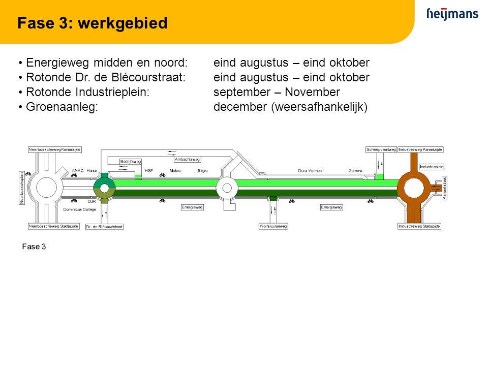Fase 3: werkgebied Energieweg midden en noord: eind augustus – eind oktober Rotonde Dr. de Blécourstraat:eind augustus – eind oktober Rotonde Industri