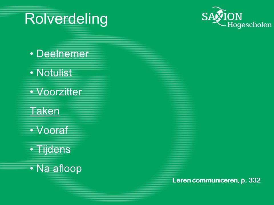 Rolverdeling Leren communiceren, p.