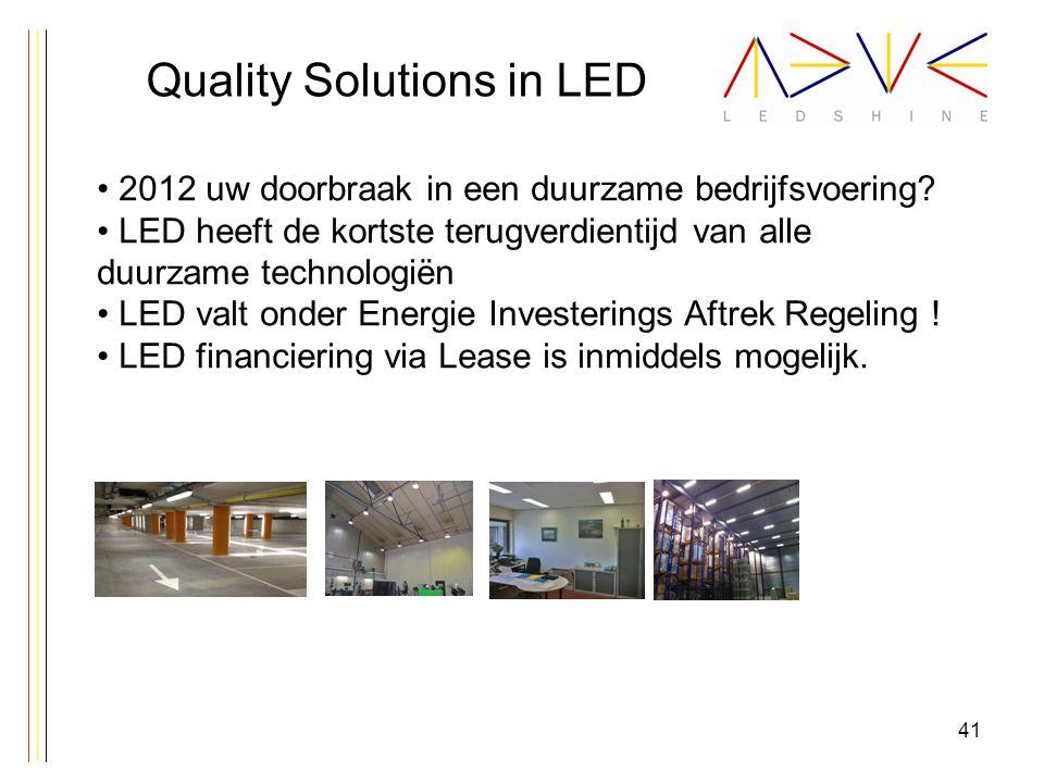 Quality Solutions in LED 2012 uw doorbraak in een duurzame bedrijfsvoering? LED heeft de kortste terugverdientijd van alle duurzame technologiën LED v
