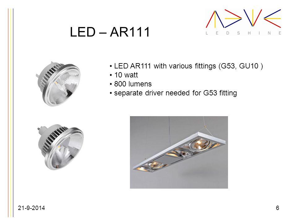 LED spotlights 21-9-20147 LED spot lights in various sizes 4, 5, 7 & 9 watt version max 105 lumen / watt in GU10 or MR16