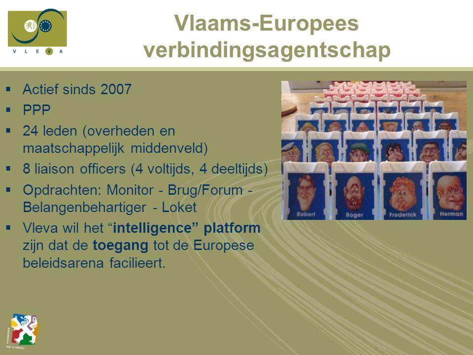 Vlaams-Europees verbindingsagentschap  Actief sinds 2007  PPP  24 leden (overheden en maatschappelijk middenveld)  8 liaison officers (4 voltijds, 4 deeltijds)  Opdrachten: Monitor - Brug/Forum - Belangenbehartiger - Loket  Vleva wil het intelligence platform zijn dat de toegang tot de Europese beleidsarena facilieert.