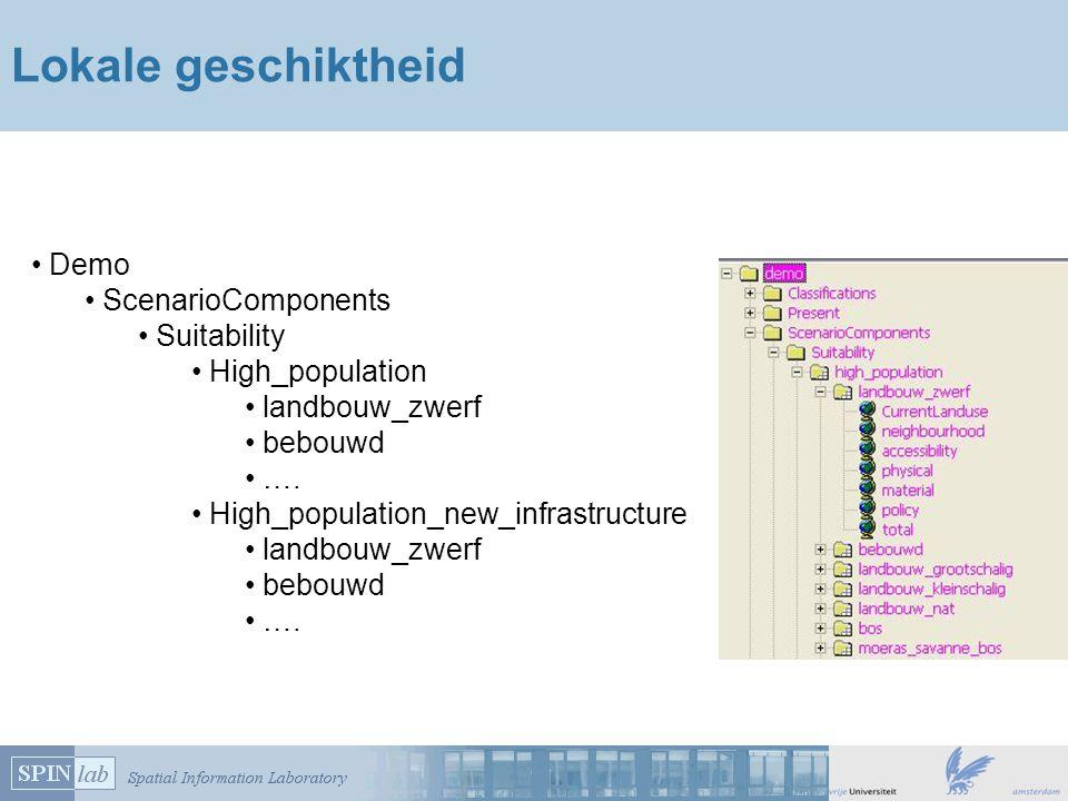 Lokale geschiktheid Demo ScenarioComponents Suitability High_population landbouw_zwerf bebouwd ….