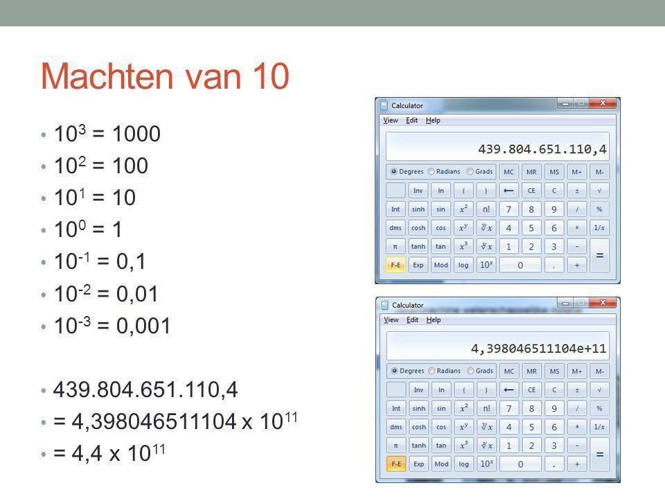 Machten van 10 10 3 = 1000 10 2 = 100 10 1 = 10 10 0 = 1 10 -1 = 0,1 10 -2 = 0,01 10 -3 = 0,001 439.804.651.110,4 = 4,398046511104 x 10 11 = 4,4 x 10
