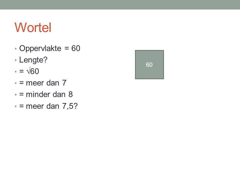 Wortel Oppervlakte = 60 Lengte? = √60 = meer dan 7 = minder dan 8 = meer dan 7,5? 60