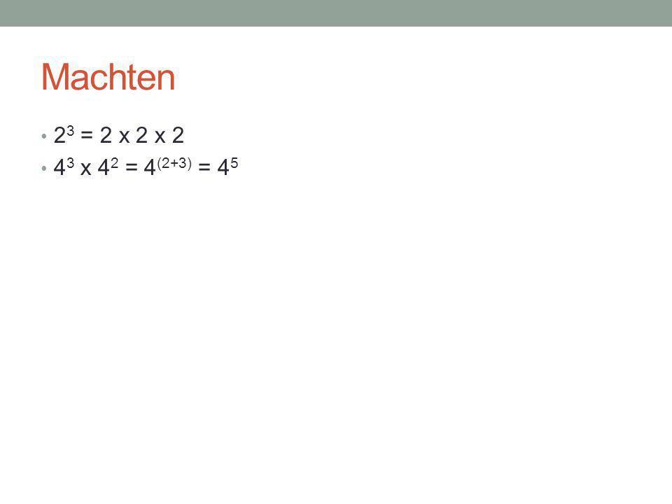 Machten 2 3 = 2 x 2 x 2 4 3 x 4 2 = 4 (2+3) = 4 5