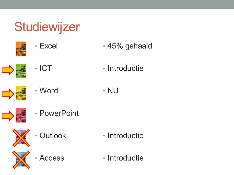 Studiewijzer 45% gehaald Introductie NU Introductie Excel ICT Word PowerPoint Outlook Access
