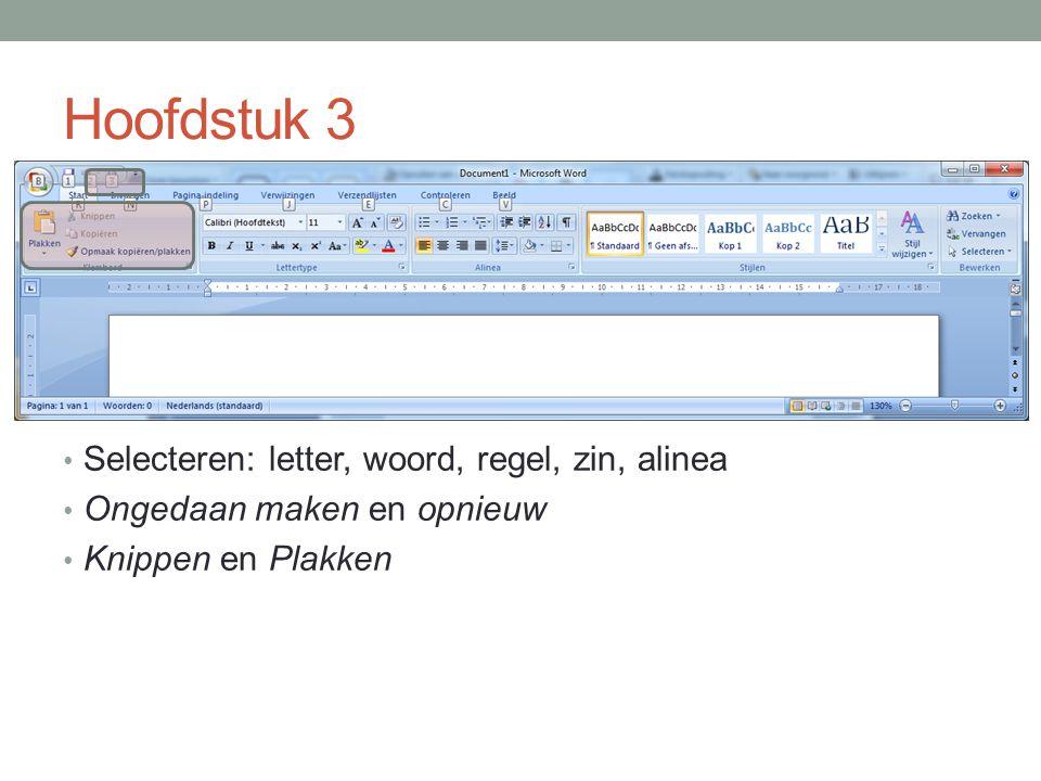 Hoofdstuk 3 Selecteren: letter, woord, regel, zin, alinea Ongedaan maken en opnieuw Knippen en Plakken