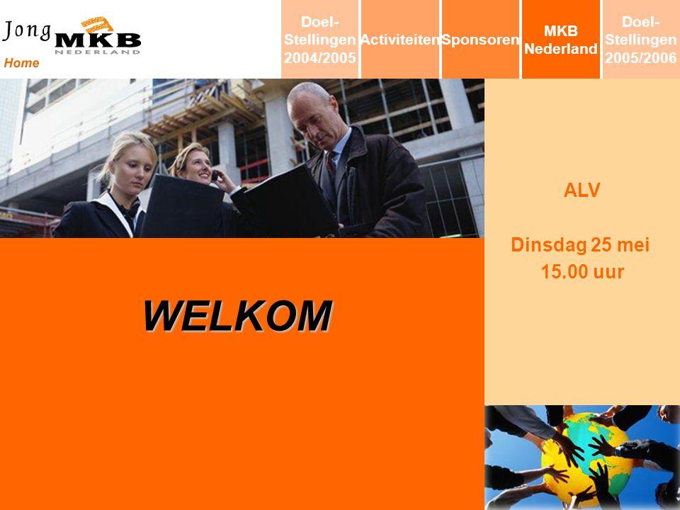 ALV Dinsdag 25 mei 15.00 uur WELKOM MKB Nederland SponsorenActiviteiten Doel- Stellingen 2004/2005 Doel- Stellingen 2005/2006