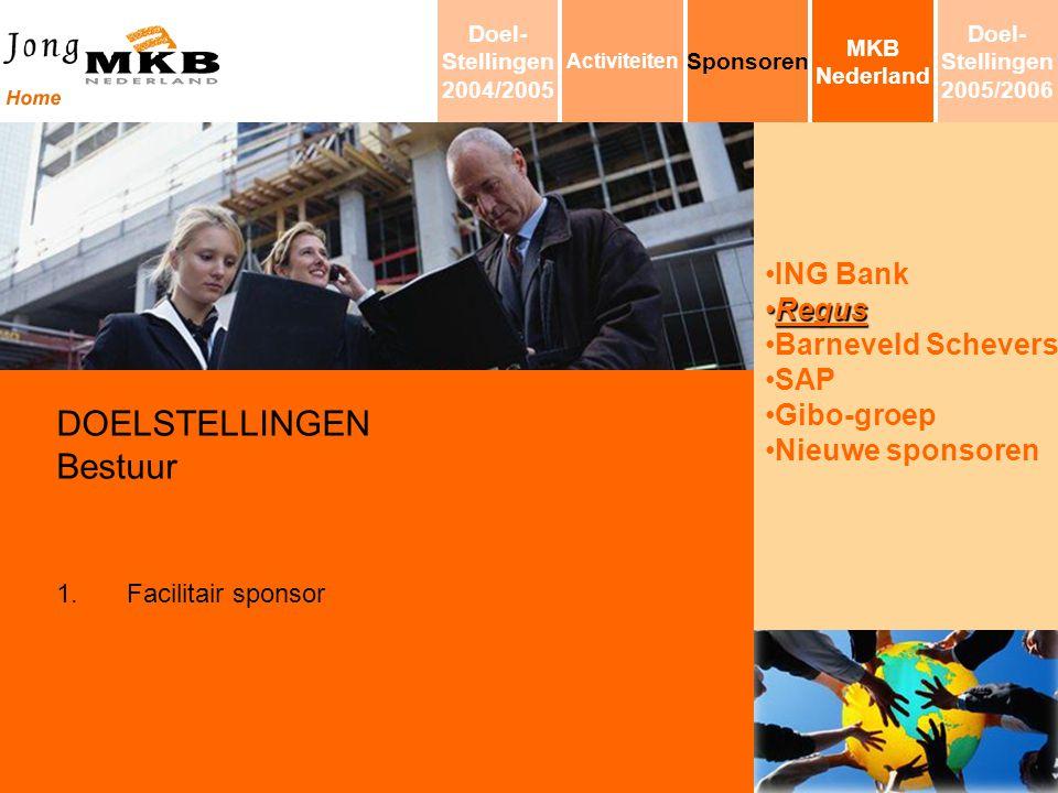 ING Bank RegusRegus Barneveld Schevers SAP Gibo-groep Nieuwe sponsoren DOELSTELLINGEN Bestuur 1.Facilitair sponsor MKB Nederland Sponsoren Activiteite
