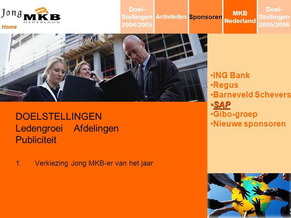 ING Bank Regus Barneveld Schevers SAPSAP Gibo-groep Nieuwe sponsoren DOELSTELLINGEN LedengroeiAfdelingen Publiciteit 1.Verkiezing Jong MKB-er van het