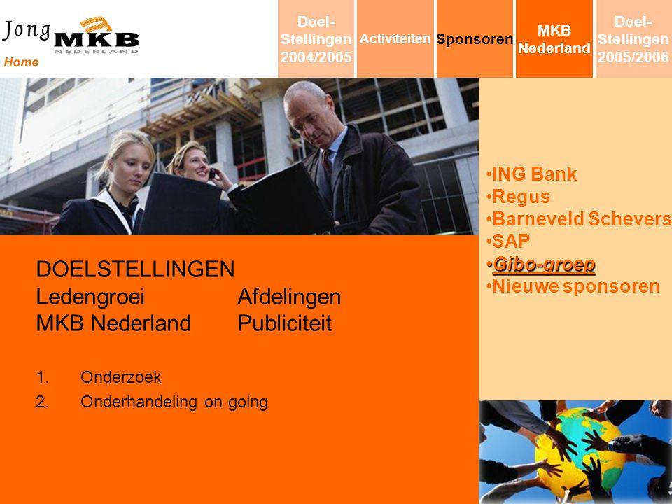 ING Bank Regus Barneveld Schevers SAP Gibo-groepGibo-groep Nieuwe sponsoren DOELSTELLINGEN LedengroeiAfdelingen MKB NederlandPubliciteit 1.Onderzoek 2