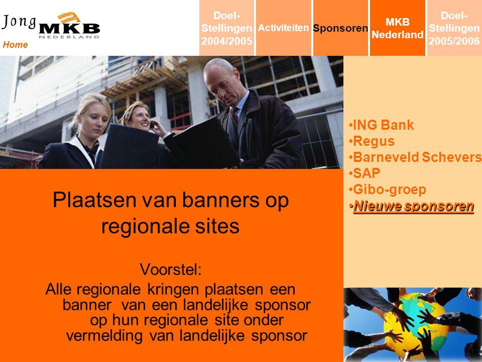 ING Bank Regus Barneveld Schevers SAP Gibo-groep Nieuwe sponsorenNieuwe sponsoren Plaatsen van banners op regionale sites Voorstel: Alle regionale kri