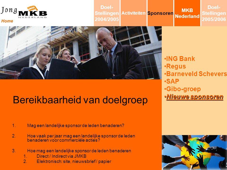 ING Bank Regus Barneveld Schevers SAP Gibo-groep Nieuwe sponsorenNieuwe sponsoren Bereikbaarheid van doelgroep 1.Mag een landelijke sponsor de leden b