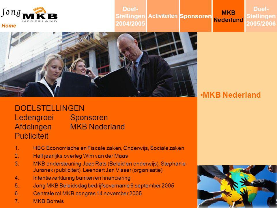 MKB Nederland DOELSTELLINGEN LedengroeiSponsoren AfdelingenMKB Nederland Publiciteit 1.HBC Economische en Fiscale zaken, Onderwijs, Sociale zaken 2.Ha