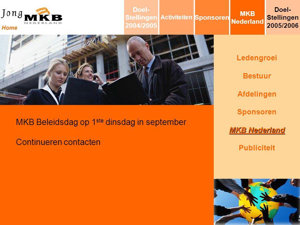 Ledengroei Bestuur Afdelingen Sponsoren MKB Nederland Publiciteit MKB Beleidsdag op 1 ste dinsdag in september Continueren contacten MKB Nederland Spo
