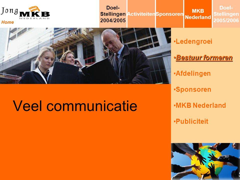 Ledengroei Bestuur formerenBestuur formeren Afdelingen Sponsoren MKB Nederland Publiciteit Veel communicatie MKB Nederland SponsorenActiviteiten Doel-