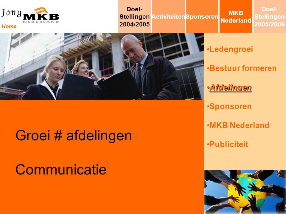 Ledengroei Bestuur formeren AfdelingenAfdelingen Sponsoren MKB Nederland Publiciteit Groei # afdelingen Communicatie MKB Nederland SponsorenActiviteit