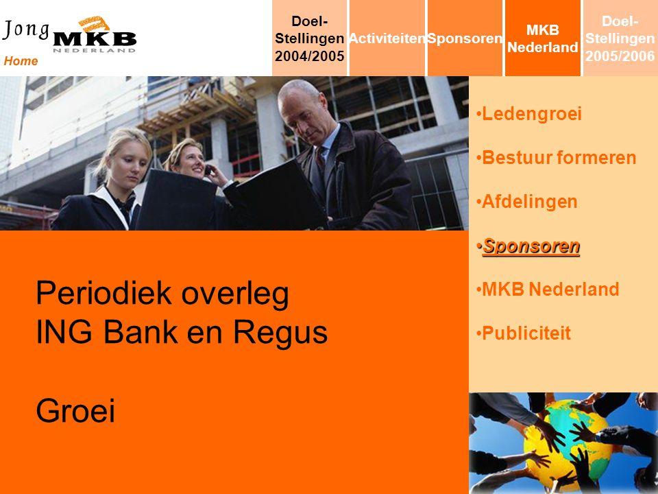 Ledengroei Bestuur formeren Afdelingen SponsorenSponsoren MKB Nederland Publiciteit Periodiek overleg ING Bank en Regus Groei MKB Nederland SponsorenA