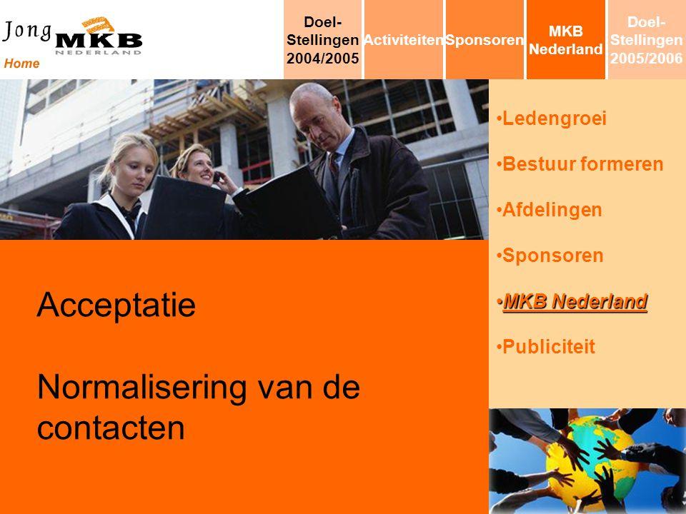 Ledengroei Bestuur formeren Afdelingen Sponsoren MKB NederlandMKB Nederland Publiciteit Acceptatie Normalisering van de contacten MKB Nederland Sponso