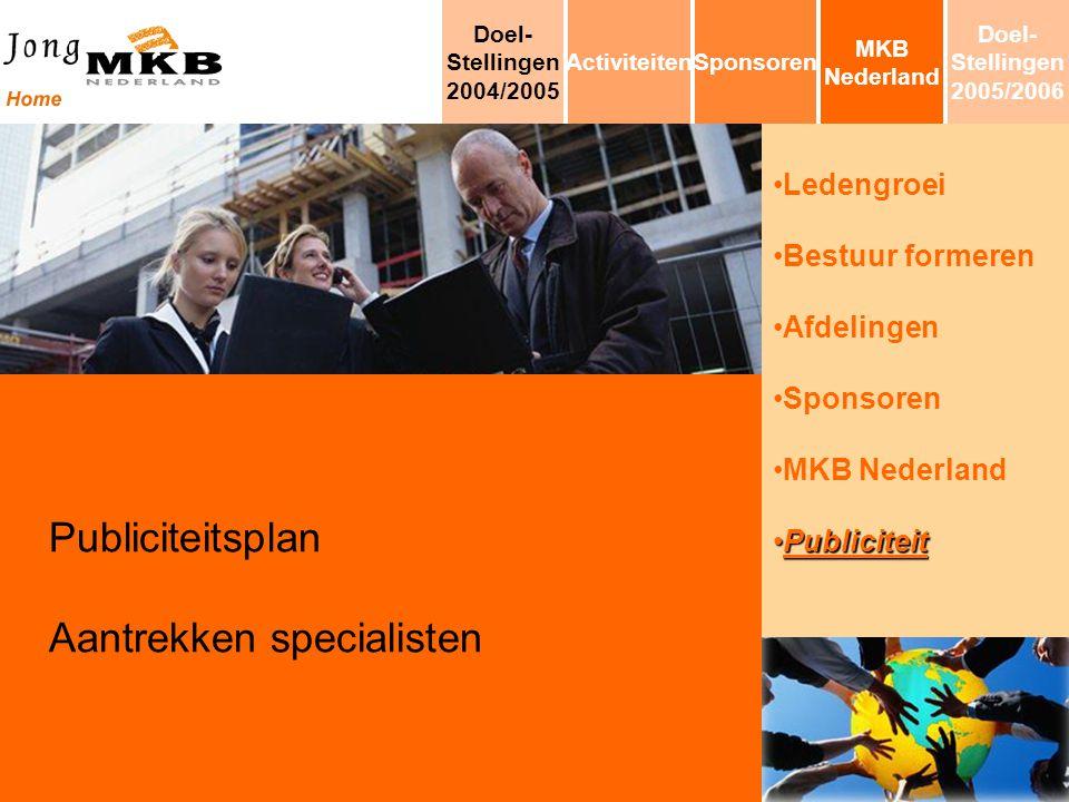 Ledengroei Bestuur formeren Afdelingen Sponsoren MKB Nederland PubliciteitPubliciteit Publiciteitsplan Aantrekken specialisten MKB Nederland Sponsoren