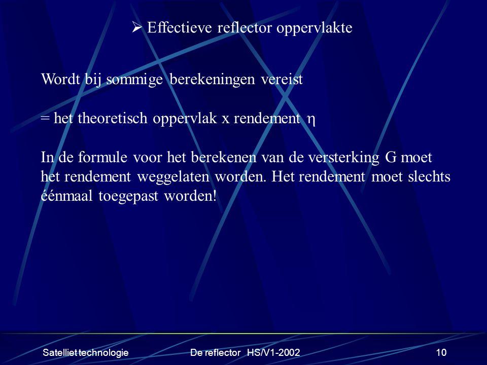 Satelliet technologieDe reflector HS/V1-200210  Effectieve reflector oppervlakte Wordt bij sommige berekeningen vereist = het theoretisch oppervlak x