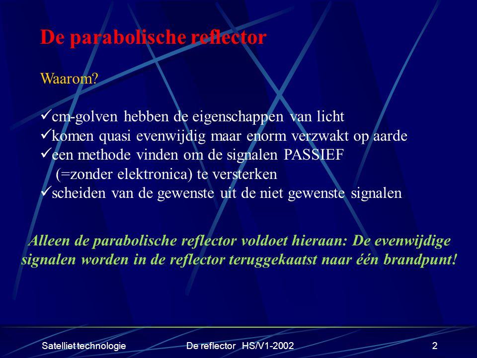 Satelliet technologieDe reflector HS/V1-20022 De parabolische reflector Waarom? cm-golven hebben de eigenschappen van licht komen quasi evenwijdig maa