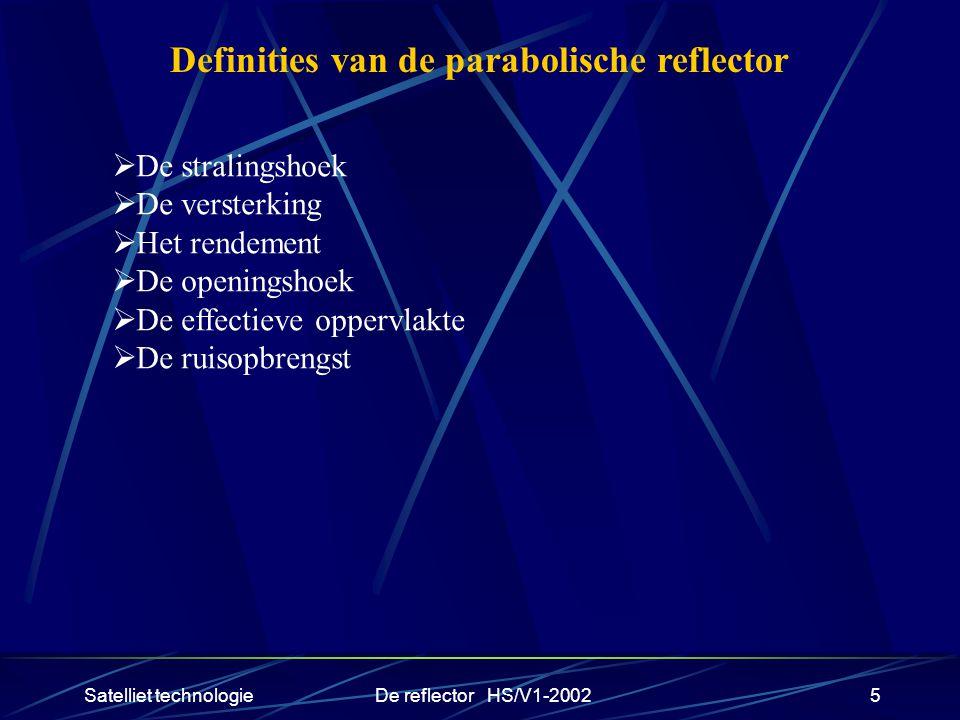 Satelliet technologieDe reflector HS/V1-20025 Definities van de parabolische reflector  De stralingshoek  De versterking  Het rendement  De openin