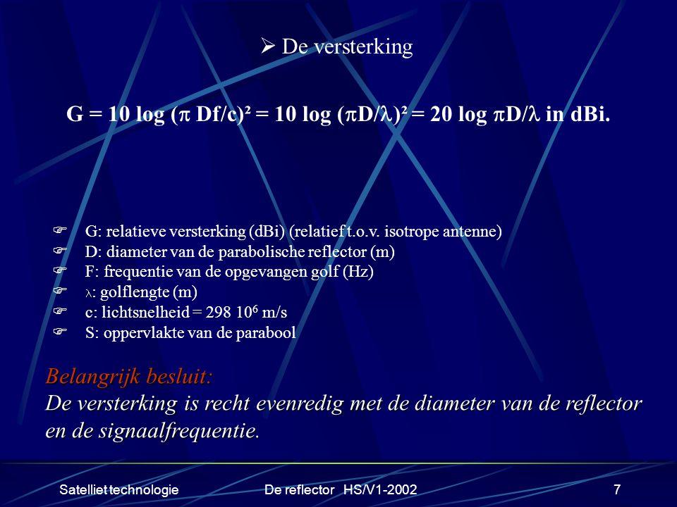 Satelliet technologieDe reflector HS/V1-20027  De versterking G = 10 log (  Df/c)² = 10 log (  D/ )² = 20 log  D/ in dBi.  G: relatieve versterki